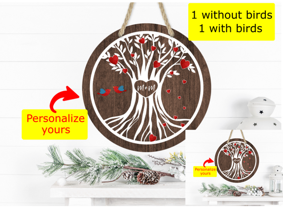 (Instant Print) Digital Download - 2pc Personalized tree with hearts - Made for our  blanks