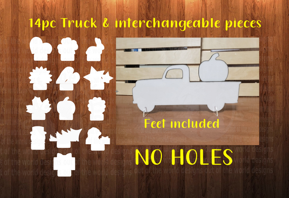 WithOUT Holes- Includes feet - Truck with interchangeable pieces ( you get all 14 pieces ) - Sublimation MDF