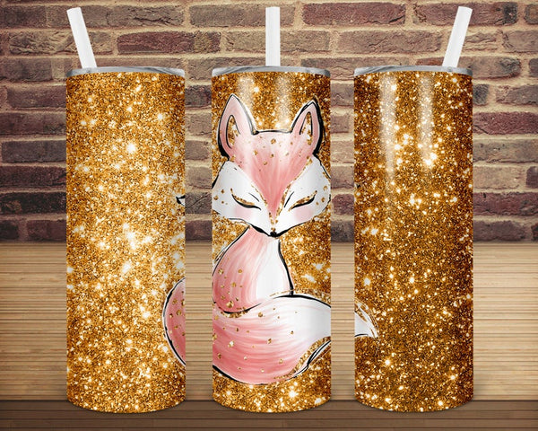 Sublimation print (ONLY) -  Gold fox  tapered tumbler- 20oz Skinny tumbler print