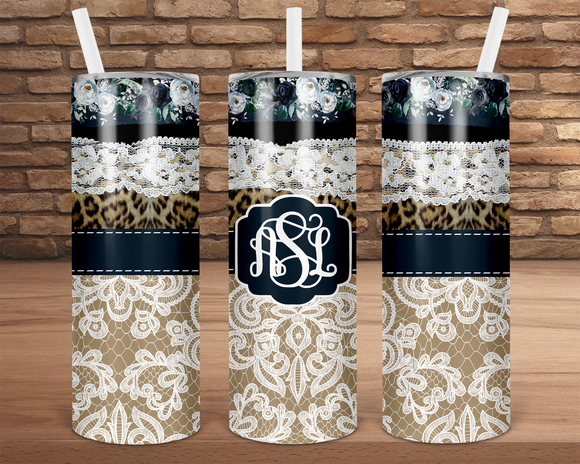 (Instant Print) Digital Download - Add your own monogram - 20oz skinny tapered  tumbler wrap