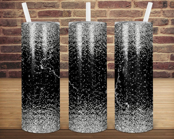 Sublimation print (ONLY) -  Black and silver glitter  tapered tumbler - 20oz Skinny tumbler print