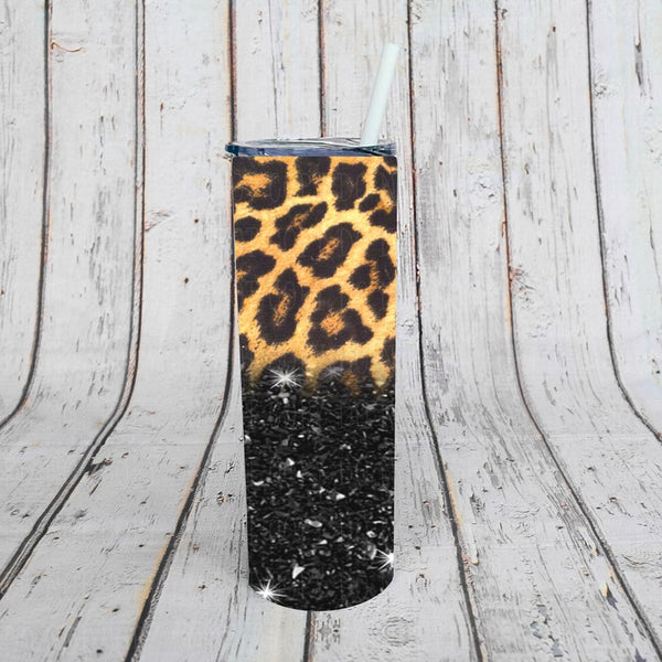 Sublimation print (ONLY) -  Cheetah and glitter - 20oz Skinny tumbler print