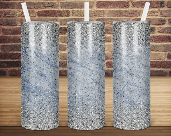 Sublimation print (ONLY) -  Blue and silver glitter  tapered tumbler - 20oz Skinny tumbler print