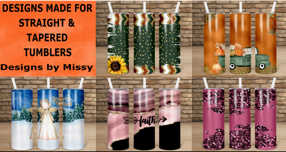 (Instant Print) Digital Download -  All 5 designs for straight and tapered tumblers  - made for our blanks