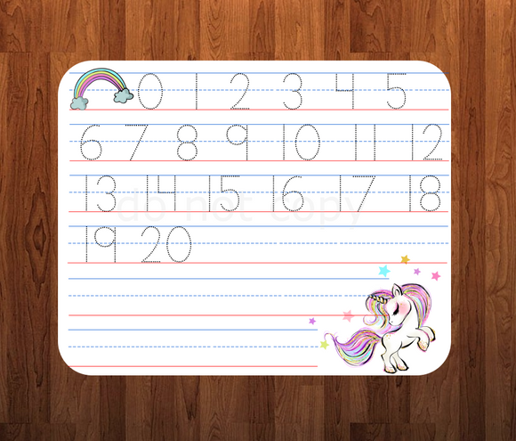 (Instant Print) Digital Download - Unicorn number traceable sheet