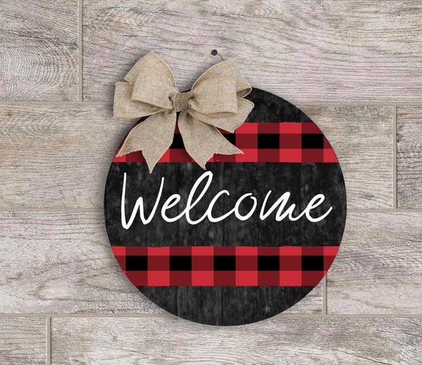 Sublimation print (ONLY) - Welcome buffalo plaid round - Made for our MDF sublimation rounds