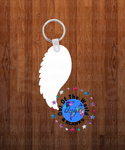 Single angel wing  Keychain - Single sided or double sided  -  Sublimation Blank