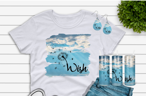 Digital download - Wish dandelion tumbler - tshirt & earring designs - made for our sub blanks