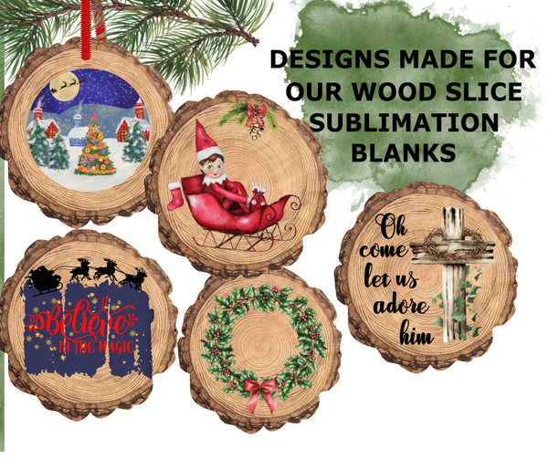 (Instant Print) Digital Download -  Wood slice bundle for our new wood slice sublimation blanks