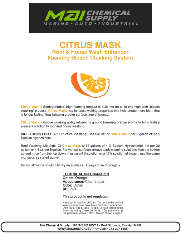 5 Gal Citrus Mask (Roof & House Wash Enhancer Foaming Bleach Cloaking System)