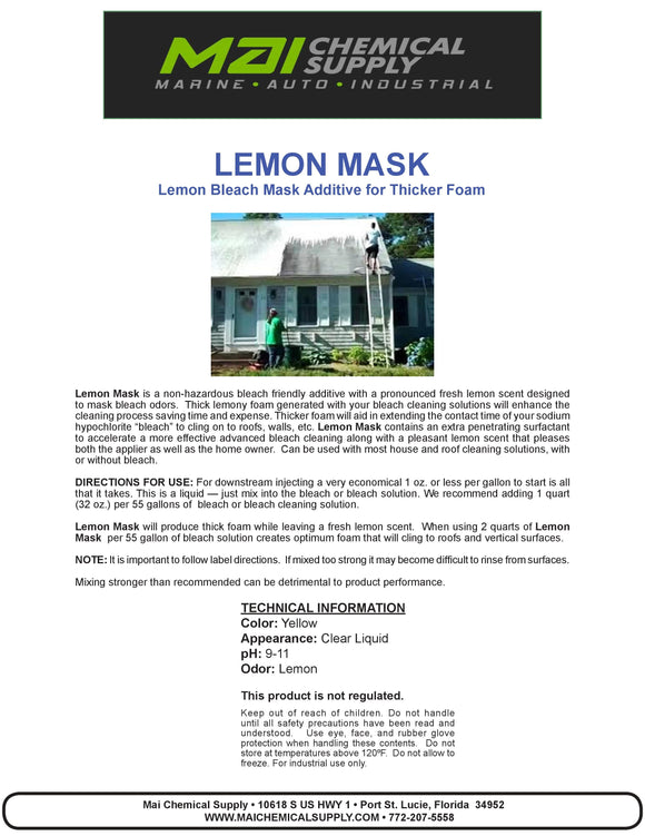 1 Gal LEMON MASK (Lemon Bleach Mask Additive for Thicker Foam)