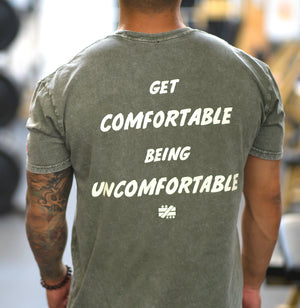 """Get Comfortable Being Uncomfortable"" Moss Stone Wash Tee - Mystérieux Brand"