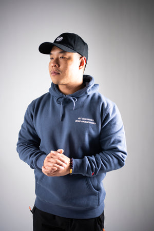 """Get Comfortable Being Uncomfortable"" Petrol Blue Hoodie - Mystérieux Brand"