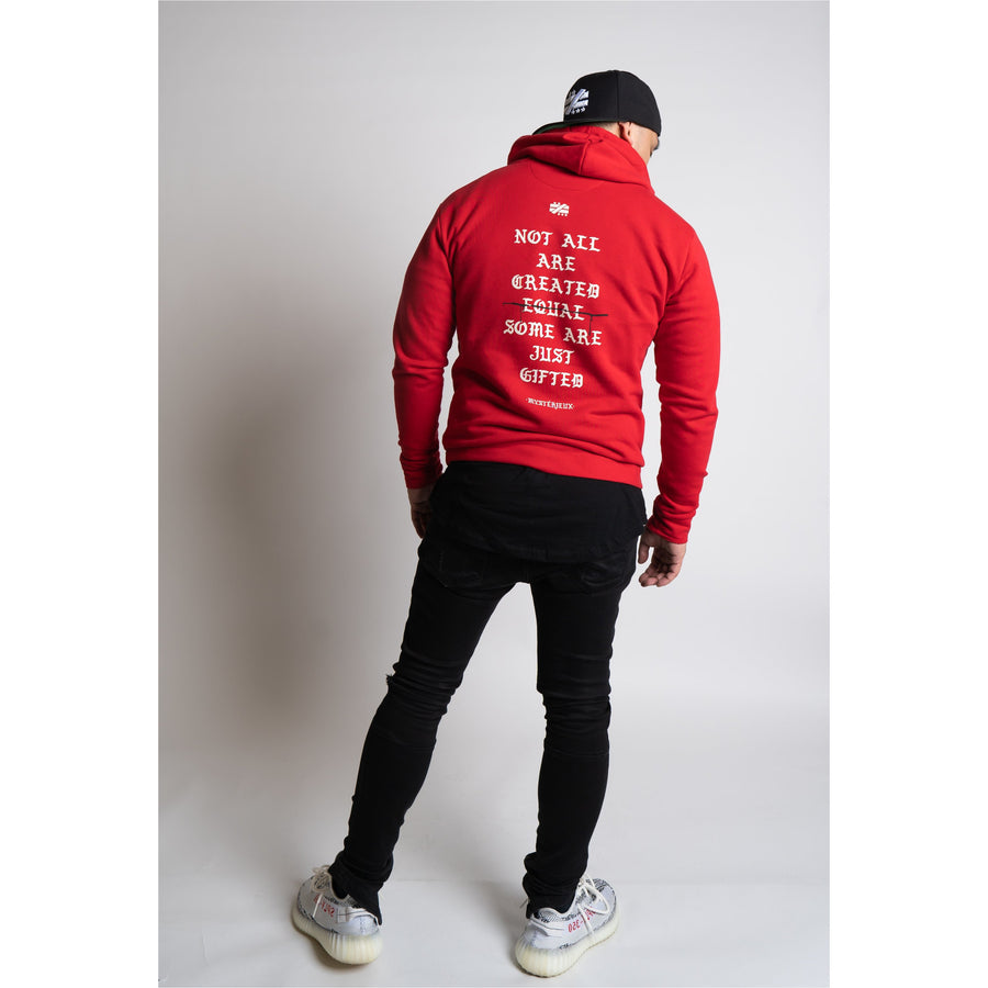 """Hustle Harder"" Red Hoodie - Mystérieux Brand"