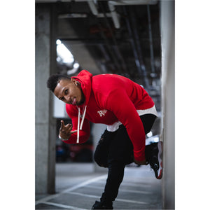 """Hustle Harder"" Red Hoody - Mystérieux Brand"