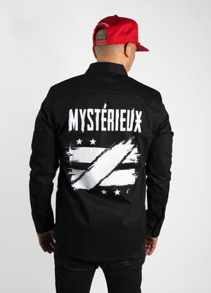 """Envisioned"" Black Military Button Up - Mystérieux Brand"