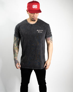 """Strong Mindset Only"" Black Stone Wash Tee - Mystérieux Brand"