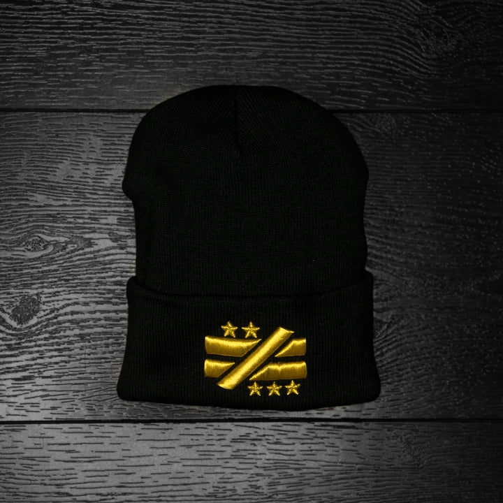 """Not Equal"" Black/Gold Beanie - Mystérieux Brand"