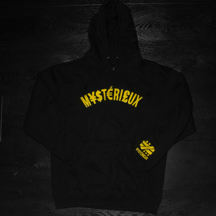 """Currency"" Black/Gold Hoody - Mystérieux Brand"