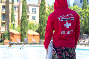 """Lifeguard Not On Duty""  UNISEX Red Zip Up Hoodie - EXCLUSIVE SIGNATURE DESIGN BY ROD - Mystérieux Brand"