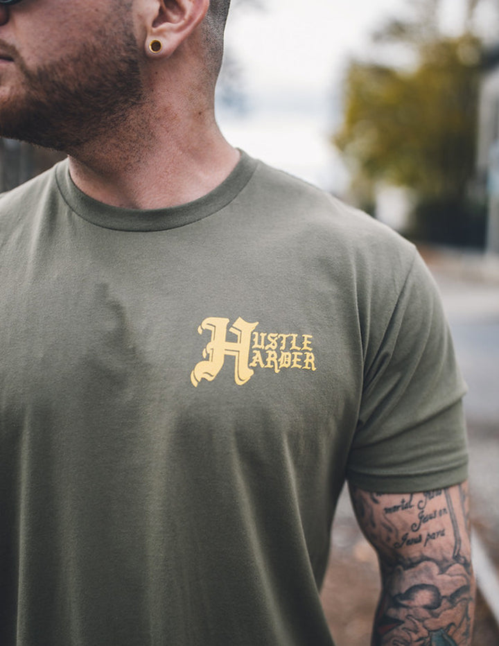 """Hustle Harder"" Military Green tee - Mystérieux Brand"