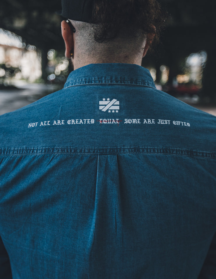 """Hustle Harder"" Denim button up - Mystérieux Brand"