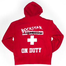 """Lifeguard Not On Duty""  UNISEX Red Zip Up Hoody  - EXCLUSIVE SIGNATURE DESIGN BY ROD"