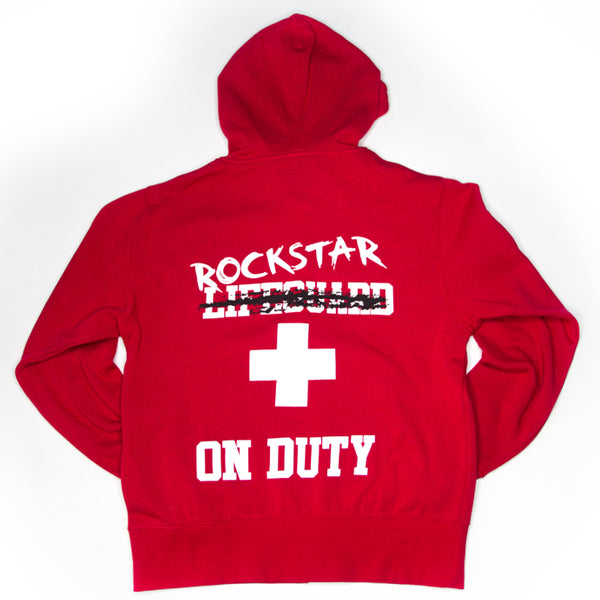 """Lifeguard Not On Duty""  UNISEX Red Zip Up Hoody  - EXCLUSIVE SIGNATURE DESIGN BY ROD - Mystérieux Brand"