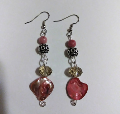 Rhondonite & Crystal Earringss
