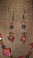 Rhondonite & Crystal Earringss - WATERBURY JEWELS