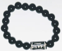 Onyx & Carved Bone Bracelet