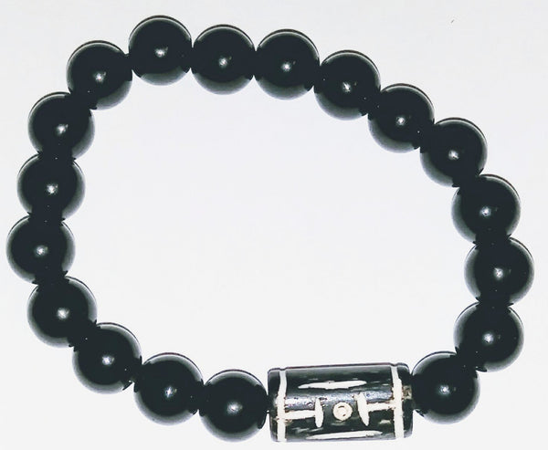 Onyx & Carved Bone Bracelet - WATERBURY JEWELS