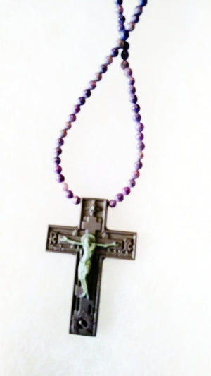 Ribbon Jasper Cross (Jesus on the Cross) - WATERBURY JEWELS