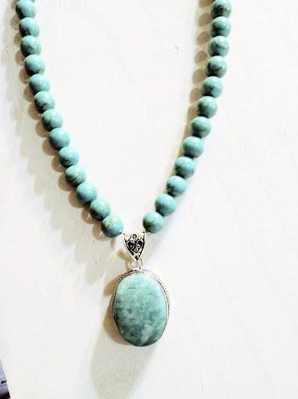 AMAZONITE & MAGNESITE TURQUOISE NECKLACE - WATERBURY JEWELS
