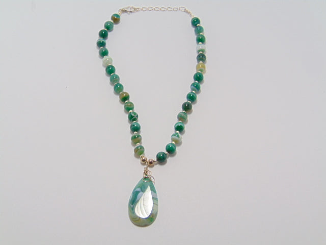 Green Agate Beaded Necklace #22 - WATERBURY JEWELS