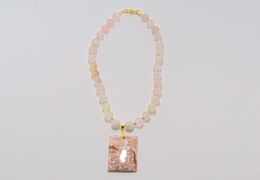 Rose Quartz & Crazy Lace Necklace - WATERBURY JEWELS