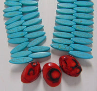 Turquoise (Magnesite) & Coral Statement Necklace - WATERBURY JEWELS