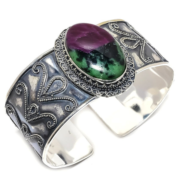 RUBY ZOISITE GEMSTONE CUFF BRACELET - WATERBURY JEWELS