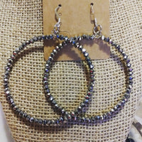 Silver Glass Hoops