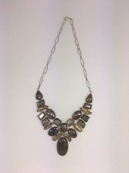 Bronzite, Pearl & Smoky Quartz Necklace # 2 - WATERBURY JEWELS