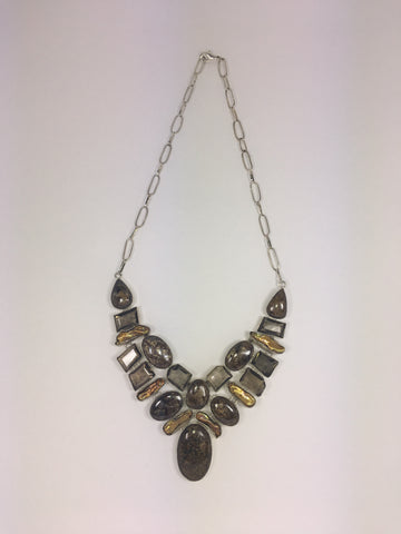 Bronzite, Pearl & Smoky Quartz Necklace # 2
