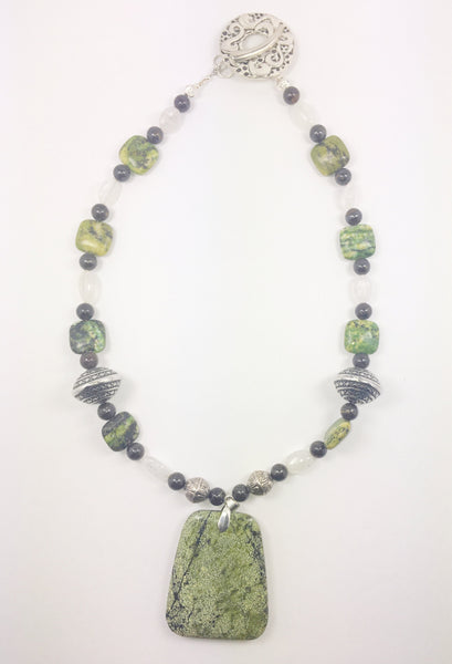 Green Jasper Beaded Necklace - WATERBURY JEWELS
