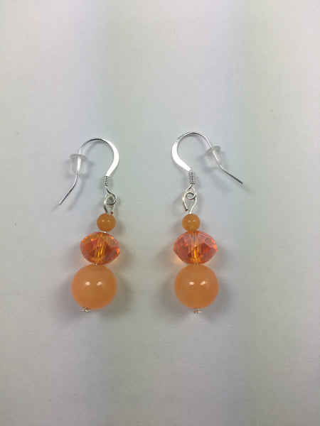 Orange Aventurine and Crystal Earrings - WATERBURY JEWELS