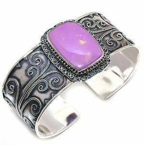 Violet Purple Cuff Bracelet -Phosphosiderite - WATERBURY JEWELS