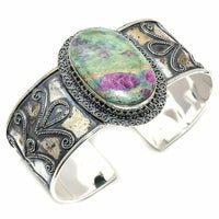 RUBY FUCHSITE GEMSTONE CUFF BRACELET - WATERBURY JEWELS