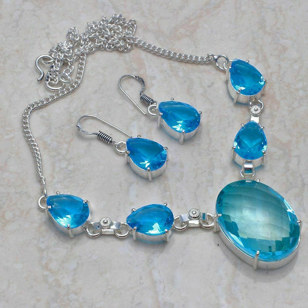Blue Topaz Ethnic Jewelry Handmade Necklace Set - WATERBURY JEWELS