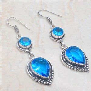 Blue Topaz Ethnic Jewelry Handmade Earrings - WATERBURY JEWELS