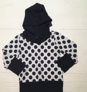 Grow-With-Me Hoodie - Navy Dot