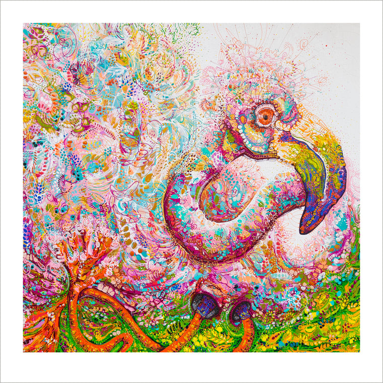 'Felicity Flamingo' 50cm x 50cm LIMITED-EDITION Print