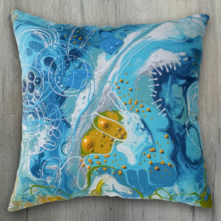 Aqua Dreams Luxurious Linen-Feel Cushion